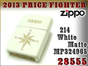 【ZIPPO】ジッポオイルライター片面加工214ホワイトマット28555ZIP-28555