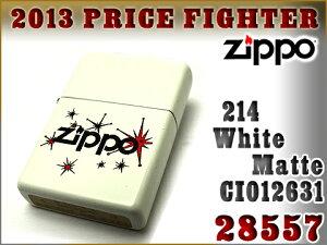 【ZIPPO】ジッポオイルライター片面加工214ホワイトマット28557ZIP-28557