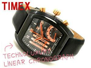 Timex men liner chronograph watch black X pink gold leather belt T3C492