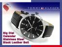 TOMMY HILFIGER トミー ヒルフィガー メンズ 腕時計 ブラック×シルバーダイアル ブラックレザーベルト 1710330【ネコポス不可】