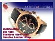 【TOMMY HILFIGER】トミー ヒルフィガー マルチファンクション メンズ 腕時計 ブラック×ローズゴールドダイアル ブラック レザーベルト 1790969
