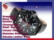 【TOMMY HILFIGER】トミー ヒルフィガー GMT機能搭載 メンズ 腕時計 IPブラックケース ブラックダイアル ブラック レザーベルト 1790972
