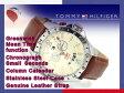 【TOMMY HILFIGER】トミー ヒルフィガー GMT機能搭載 メンズ 腕時計 ベージュダイアル ブラウン レザーベルト 1790973