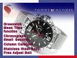 【TOMMY HILFIGER】トミー ヒルフィガー GMT機能搭載 メンズ 腕時計 ブラックダイアル シルバーステンレス フリーアジャストベルト 1790976