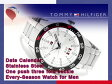 【TOMMY HILFIGER】トミー ヒルフィガー メンズ 腕時計 ブラックベゼル ホワイトシルバーダイアル シルバー ステンレスベルト 1790980