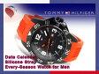 【TOMMY HILFIGER】トミー ヒルフィガー メンズ 腕時計 ブラックダイアル オレンジ ラバーベルト 1790985