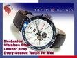 【TOMMY HILFIGER】トミー ヒルフィガー 機械式 自動巻+手巻き メンズ 腕時計 ブルーベゼル ホワイトダイアル ダークブラウンレザーベルト 1791056