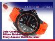 【TOMMY HILFIGER】トミー ヒルフィガー メンズ 腕時計 ブラックダイアル オレンジ ラバーベルト 1790999