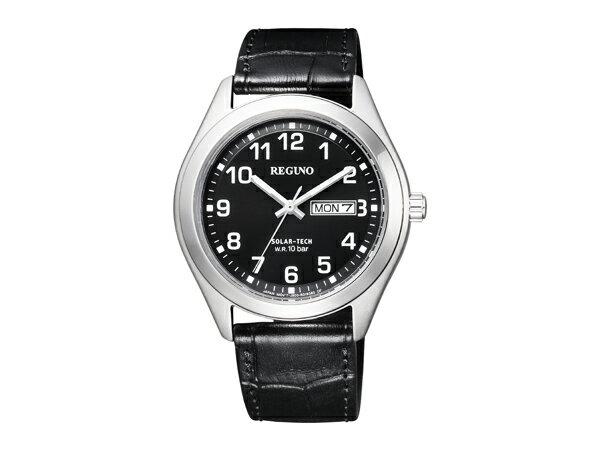 CITIZEN REGUNO  シチズン レグノ ソーラーテック メンズ 腕時計 ブラック ダイアル KM1-016-50【ネコポス】 【3年保証】【正規品】 シチズン レグノ ソーラーテック メンズ 腕時計 ブラック ダイアル