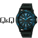 シチズン CITIZEN Q&Q キューキュー SOLARMATE ソーラーメイト スタンダード&スポーツ ソーラー メンズ 腕時計 ブラック×ブルー × ブラック H030-004