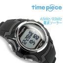 【time piece】タイムピース ソーラー 電波 メンズ レディース ユニセックス デジタル 腕時計 デュアルパワー ブラック TPW-001BK