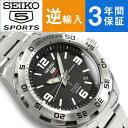 【逆輸入 SEIKO5 SPORTS】セイコー5スポーツ 自動巻き 手巻き付き機械式 メンズ 腕時計 ブラックダイアル シルバーステンレスベルト SRPB79K1【AYC】