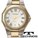 【TECHONOS】テクノス タングステンベゼル クオーツ メンズ アナログ 腕時計 シルバーダイアル ゴールド×シルバー ステンレスベルト T9624TW