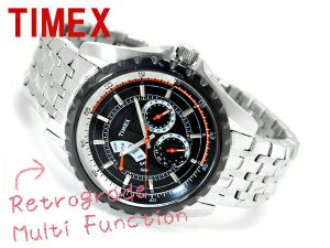 Timex multifunction retrograde black stainless steel belt T2M430