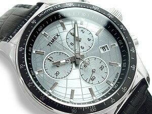 【TIMEX】タイメックスCLASSICSメンズクロノグラフ腕時計ホワイトダイアルブラックレザーベルトT2N820