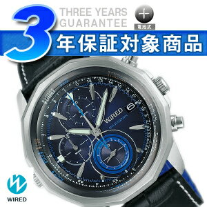 SEIKO wired THE BLUE the blue men watch chronograph blue-black leather belt AGAW422
