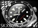 【逆輸入SEIKO AUTOMATIC】セイコー メンズダイバーズ自動巻き腕時計 BLACK BOY ブラックボーイ ブラックダイアル ブラックベゼル シルバーステンレスメタルベルト SKX007K2【あす楽】