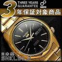 【日本製逆輸入 SEIKO5】セイコー5 メンズ 自動巻き式腕時計 ゴールド×ブラック ゴールドステンレスベルト SNKL50J1【AYC】