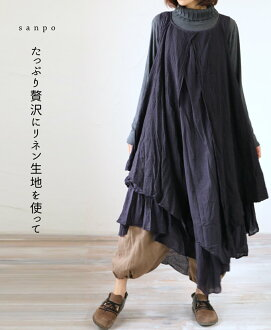 "4/28 from 22 at very low * (Navy) ""sanpo"" on plenty of luxury linen fabric with. Asymmetric dress"