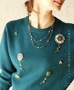 【再入荷♪1月13日12時&22時より】(深緑)「french」可憐なビジューの花が咲く極上ニットトップス