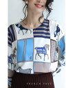 (S~M対応)「FRENCH PAVE」エレガンスの象徴。飾り馬のスカーフ柄ニットトップス