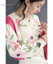 (S~M対応)クロスステッチ刺繍の花ニットカーディガン...