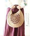 【再入荷♪1月15日12時&22時より】(ベージュ)「mori」ニットのお花を添えたほっこりバッグ