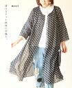 【再入荷♪8月9日12時&22時より】(ブラック)「mori」透けるドット模様の羽織り