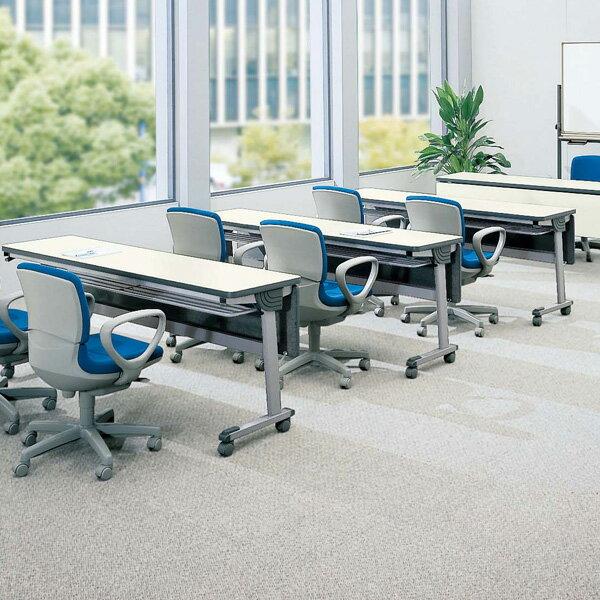 【受注生産品】生興 テーブル STA型スタックテーブル W1500×D450×H700 天板ハネ上げ式 スライドスタック式 棚付 STA-1545S【】 オフィス家具からオシャレ家具まで!踏むだけで簡単固定のスタックテーブル