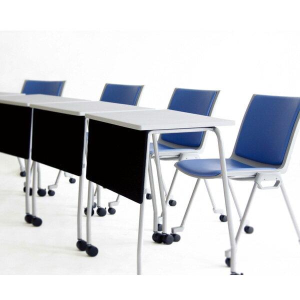 生興 テーブル TT型スタックテーブル W730×D445×H710 天板固定式 垂直スタック式 幕板付 固定脚 TT-14MG【】 オフィス家具からオシャレ家具まで!天板固定の垂直スタックテーブル