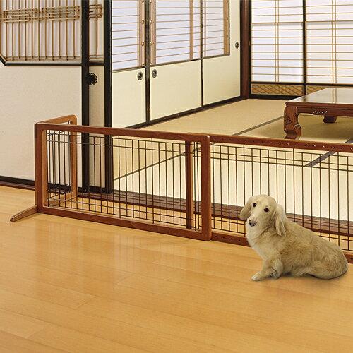 木製おくだけゲートH犬用ワイドブラウン代引不可送料無料(一部地域除く)
