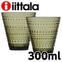 iittala イッタラ カステヘルミ Kastehelmi タンブラー グラス 300ml モスグリーン 2個セット