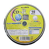 ALL-WAYS CD-R【10枚】 52倍速 700MB スピンドル ワイドプリンタブル 【HLSDU】