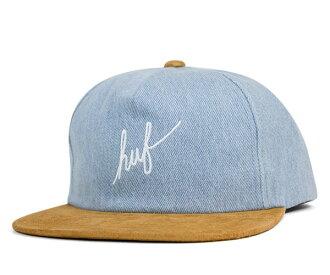 霍夫業績回升帽腳本牛仔藍牛仔帽子 HUF 業績回升帽腳本牛仔藍色牛仔
