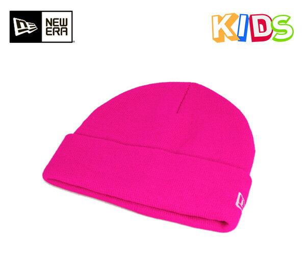 ニューエラ ニットキャップ キッズ ベーシック カフ ニット ネオンピンク 帽子 NEWERA KNIT CAP KIDS BASIC CUFF KNIT NEON PINK