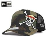 ニューエラ×ワンピース メッシュ キャップ ルフィー ウッドランドカモ 帽子 NEWERA×ONEPIECE 9FORTY MESH CAP D-FRAME TRUCKER MONKEY D LUFFY WOODLAND CAMO [ メッシュキャップ メンズ 帽子 キャップ ][GN] #CP:M