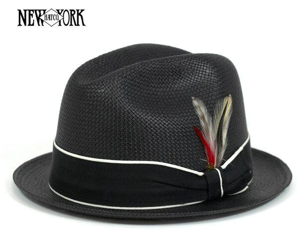 【10%OFFクーポン対象】 ニューヨークハット(NEW YORK HAT) ストローハット フェドラハット ブラック 帽子 STRAW LOUIE BLACK 麦わら帽子 メンズ || 中折れ帽 メンズ帽子 おしゃれ 夏 麦わら 黒 ハット【返品・交換対象外】