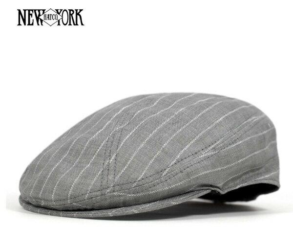 ニューヨークハット(NEW YORK HAT)リネン ストライプ 1900 ハンチング グレー 帽子 HUNTING LINEN STRIPE 1900 GREY メンズ