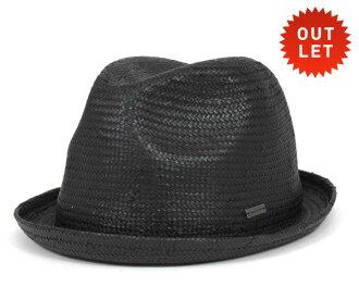 卡瓦列羅 Fedora 帽子卡薩雷斯紙秸杆黑帽子 CABALLERO FEDORA 帽子卡薩雷斯紙稻草黑色 [大小男裝大草帽稻草秸稈帽子草帽草帽草編帽子],[BK] #HA: S