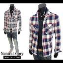 メンズ シャツ 長袖 綿100% チェック柄 ツイル ネルシャツ ブランドロゴタグ 胸ポケット