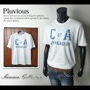 【送料無料】メンズ Tシャツ 半袖 PLUVIOUS アメカジグラフィックデザイン クルーネック 綿100%【メール便対応】