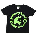 Johnny Bird Daily Wear(ジョニーバードデイリーウェア)KIDS CIRCLE LOGO T-Shirt Black×Lime Green キッズTシャツ