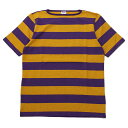 ショッピング ティージー カットソー バスク シャツ Tieasy Authentic オーセンティック HDCS BOATNECK S/S WIDE BORDER BASQUE SHIRT Americancolor Edition Purple/Mustard ボートネック半袖ワイドボーダーバスクシャツ