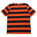 ショッピング ティージー カットソー バスク シャツ Tieasy Authentic オーセンティック HDCS BOATNECK S/S WIDE BORDER BASQUE SHIRT Americancolor Edition Orange/Navy ボートネック半袖ワイドボーダーバスクシャツ