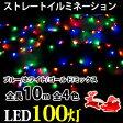 イルミネーション ストレートライト LED 100球 100灯 10m 黒線 クリスマス デコレーション 飾り付け ガーデン 庭 装飾 電飾 ライト イルミ ER-100LED10