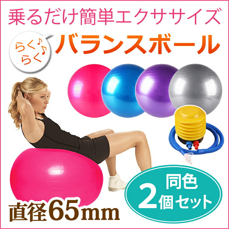 バランスボール 65cm 【2個セット】 空気入れ フットポンプ付き エクササイズボール バランス ボール エクササイズ ダイエット 体幹トレーニング トレーニング ER-BLBL65_2M