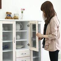 カップボードキッチンカウンター食器棚収納おしゃれ120cmキャスター付き