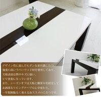 家具調こたつコタツこたつ長方形鏡面ホワイト座卓センターテーブルロータイプシンプルモダンリビングテーブル継脚付炬燵105センチLINE