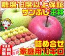 【ご注文順に順次発送!】玉指定不可りんごの本場青森県から産地直送糖度13度 サンふじ 王林 詰め合わせ家庭用10キロ 内部品質保証訳あり ふじりんご 林檎1箱で2つの味わい毎日のフルーツに♪♪コールドプレスジュース用にも♪【RCP】apple