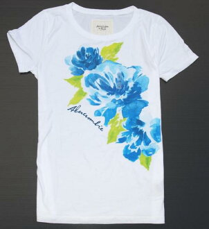 아바 크로/abercrombie&fitch ◆ 정품/정품 ◆ 여성용 반 소매 T 셔츠 ◆ L 사이즈 ◆ 화이트 화이트